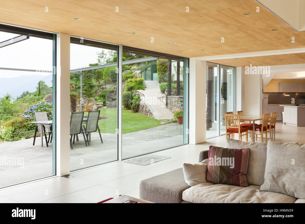 Berghaus, moderne Architektur, Interieur, Wohnzimmer, Veranda Blick ...