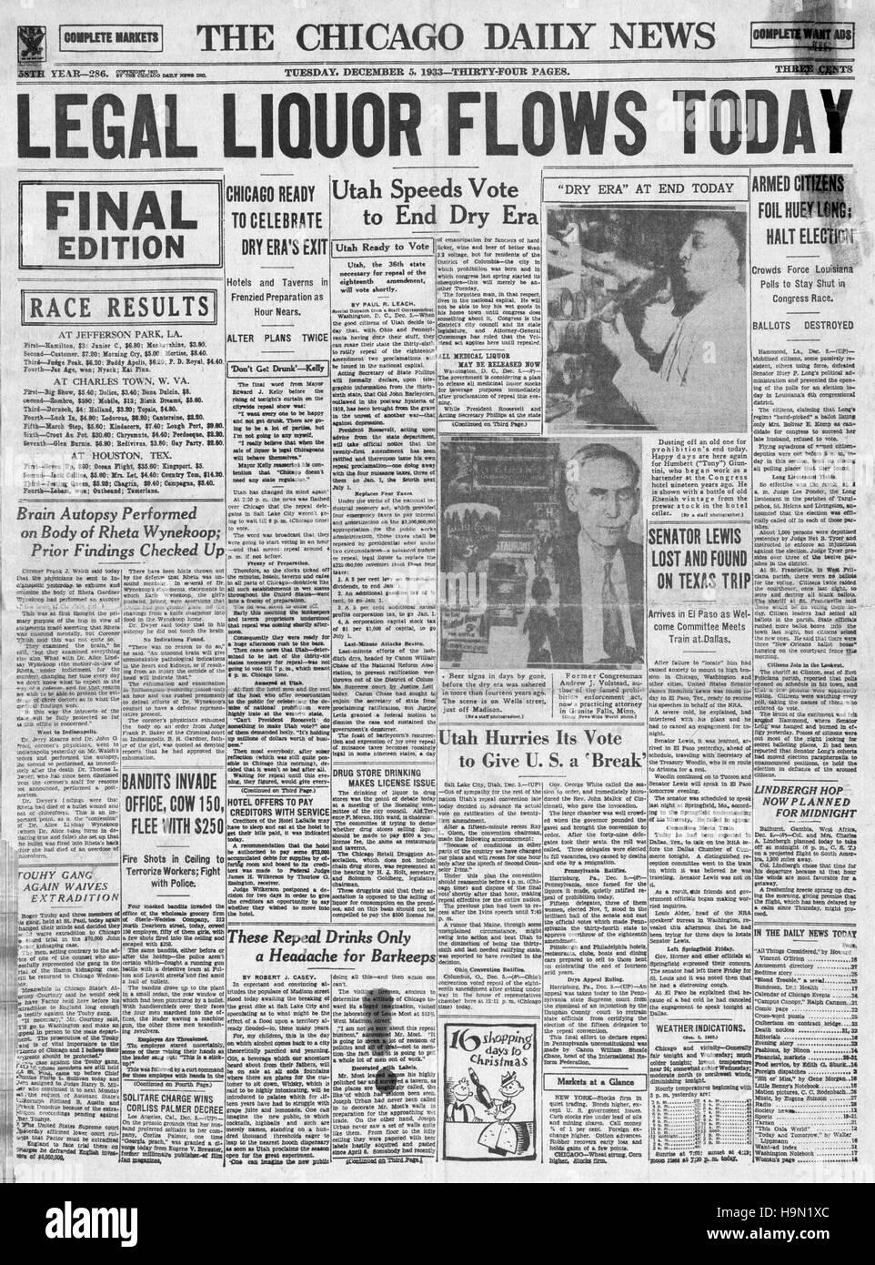 1937 the Philadelphia Inquirer (USA) Titelseite Ende der prohibition Stockbild