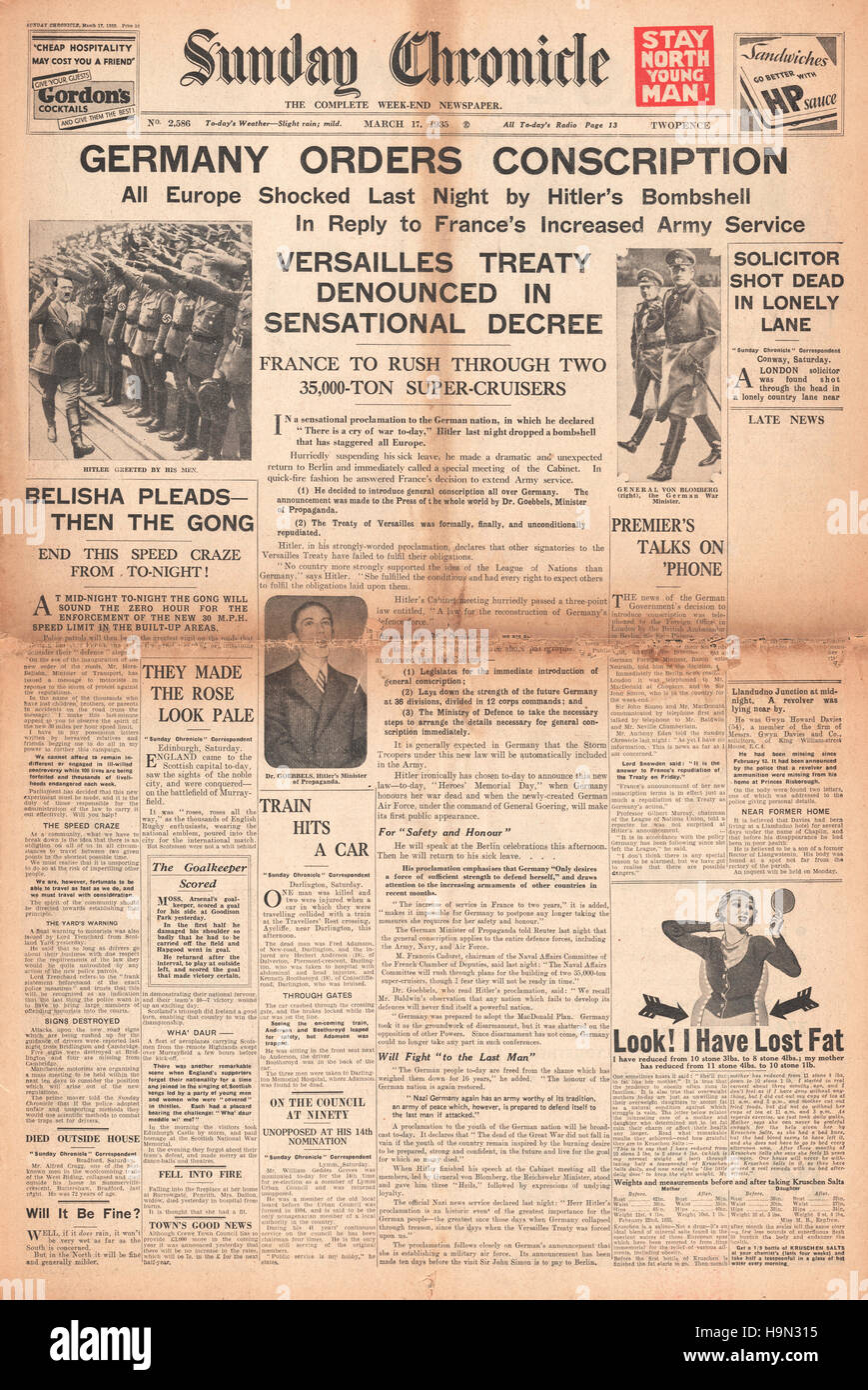 1935 Sonntag Chronik Deutschland Bestellt Wehrpflicht Und Adolf
