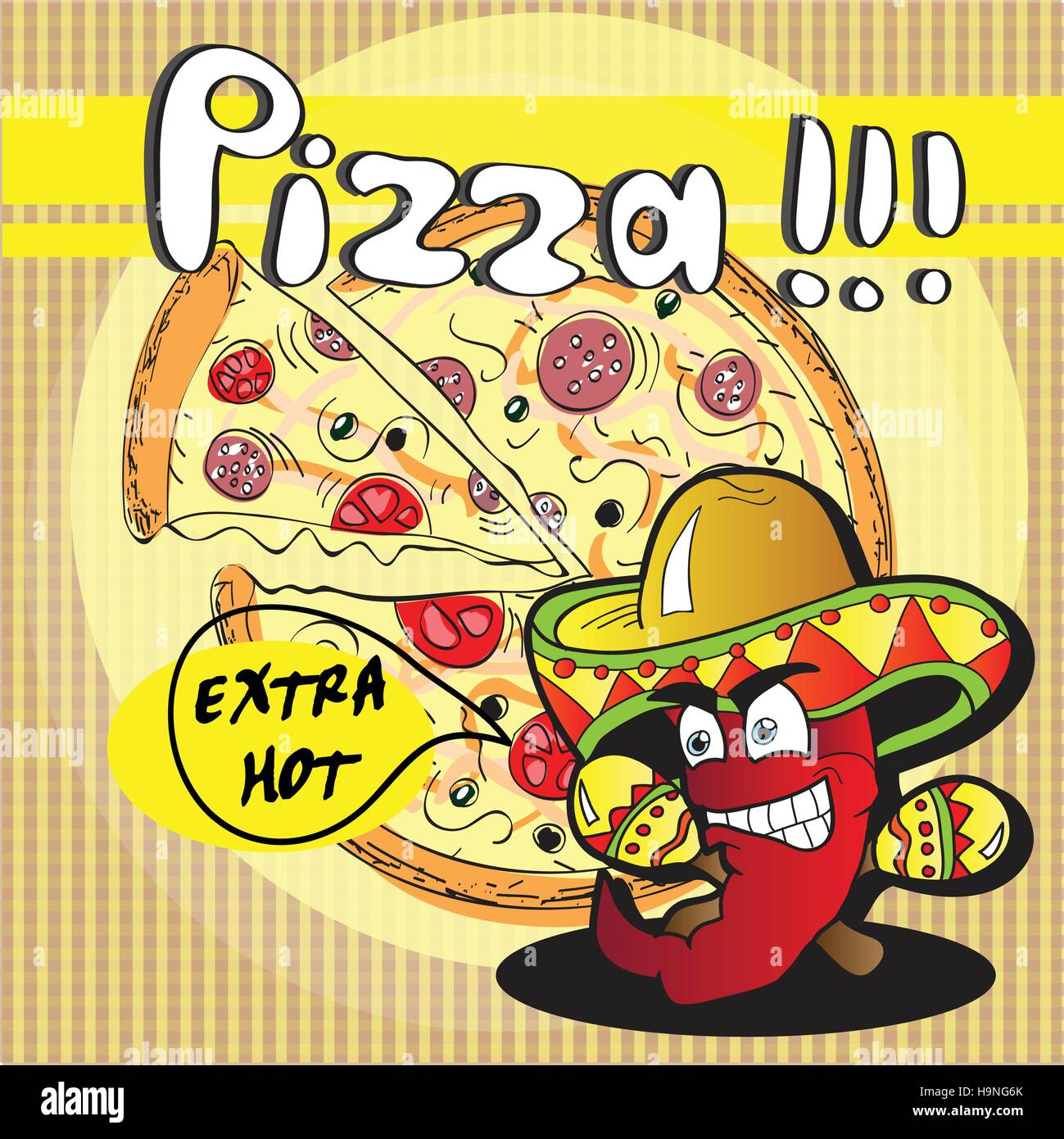 Chile-Paprika und Extra heiße Pizza - Vektor Karte Stockbild