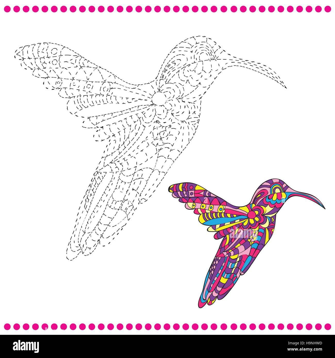 Verbinden Sie die Punkte und Malvorlagen - Kolibri Vektor Abbildung ...