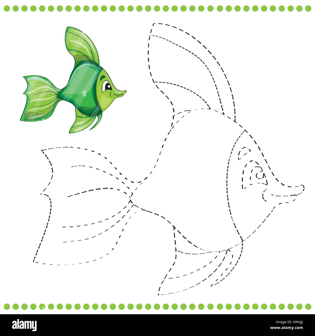 Verbinden Sie die Punkte und Malvorlagen mit lustige Fische Vektor ...