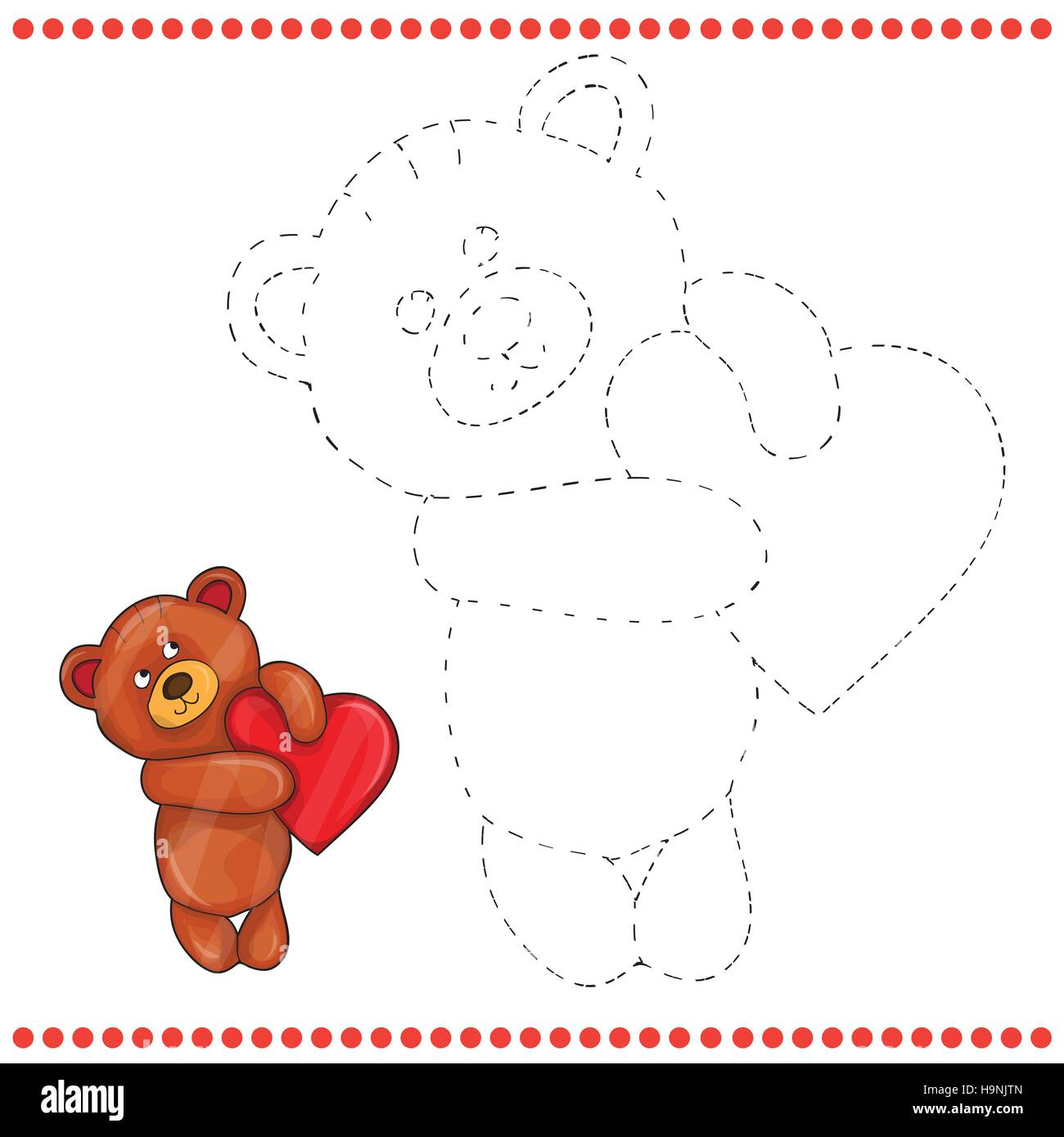 Verbinden Sie Die Punkte Und Malvorlagen Teddybär Vektor Abbildung