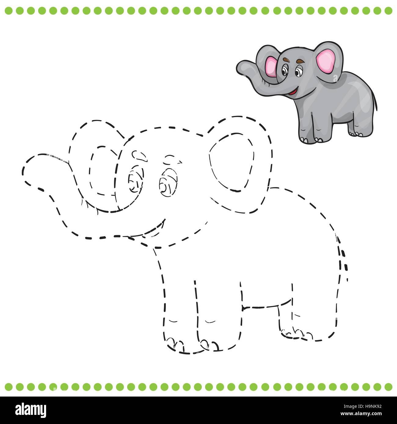 Verbinden Sie Die Punkte Und Malvorlagen Elefant Vektor