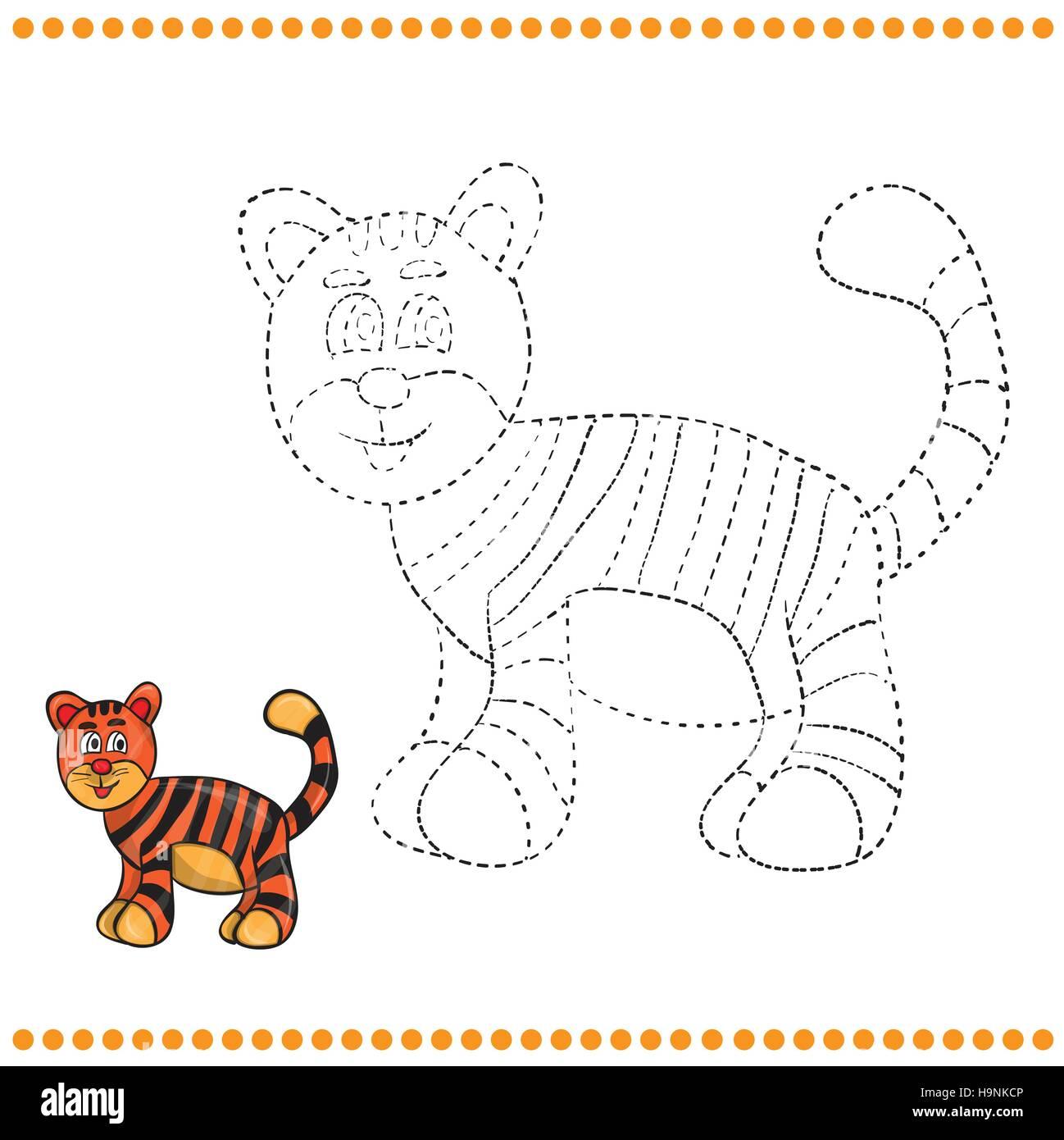 Verbinden Sie die Punkte und Malvorlagen - tiger Vektor Abbildung ...