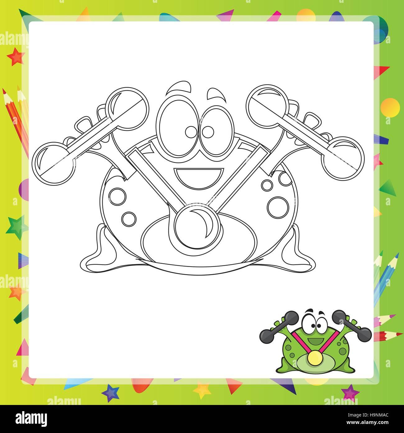 Illustration der Cartoon Frosch - Malbuch - Vektor Vektor Abbildung ...