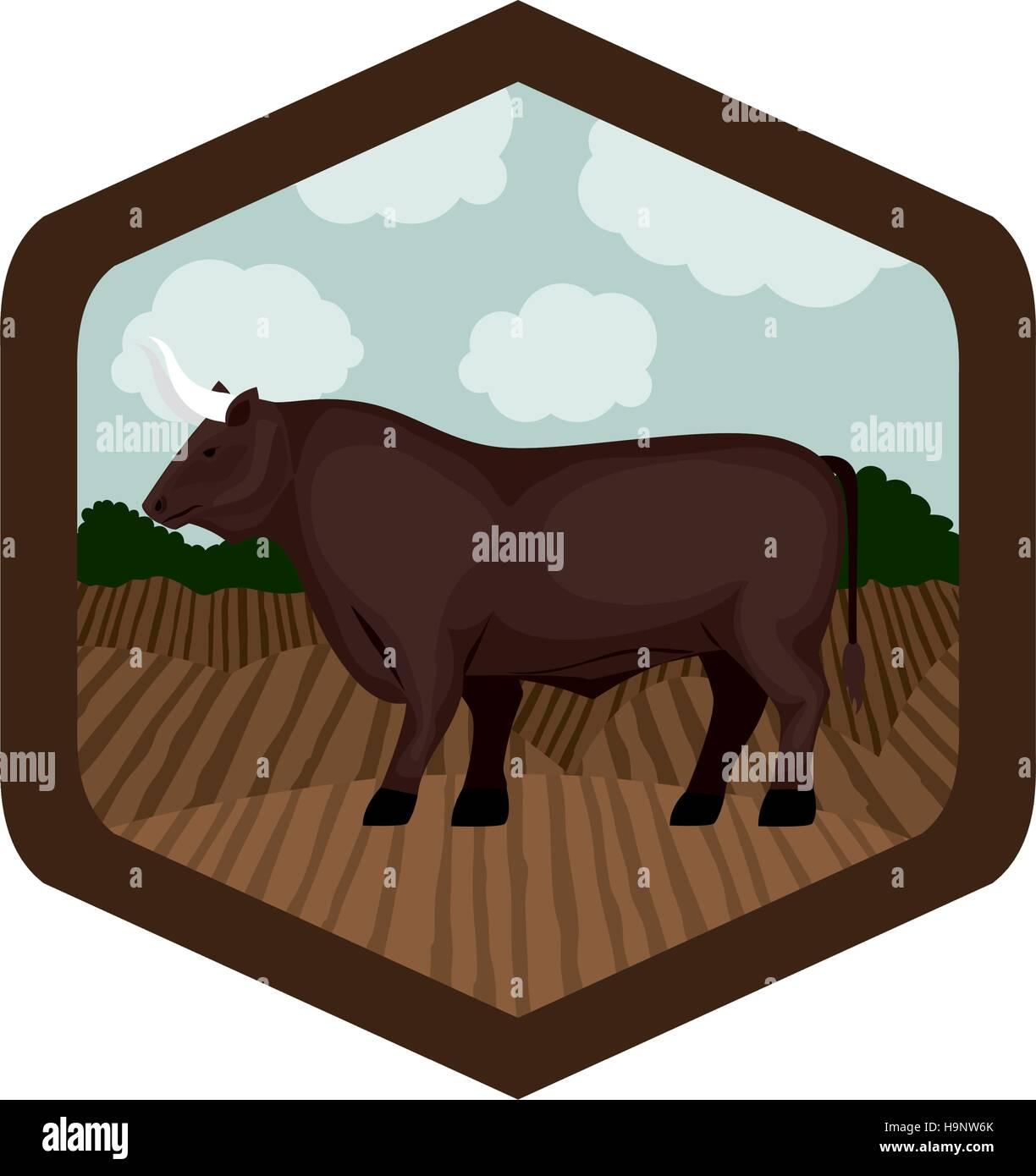 Isolierte Bull Tier in Rahmenkonstruktion Vektor Abbildung - Bild ...