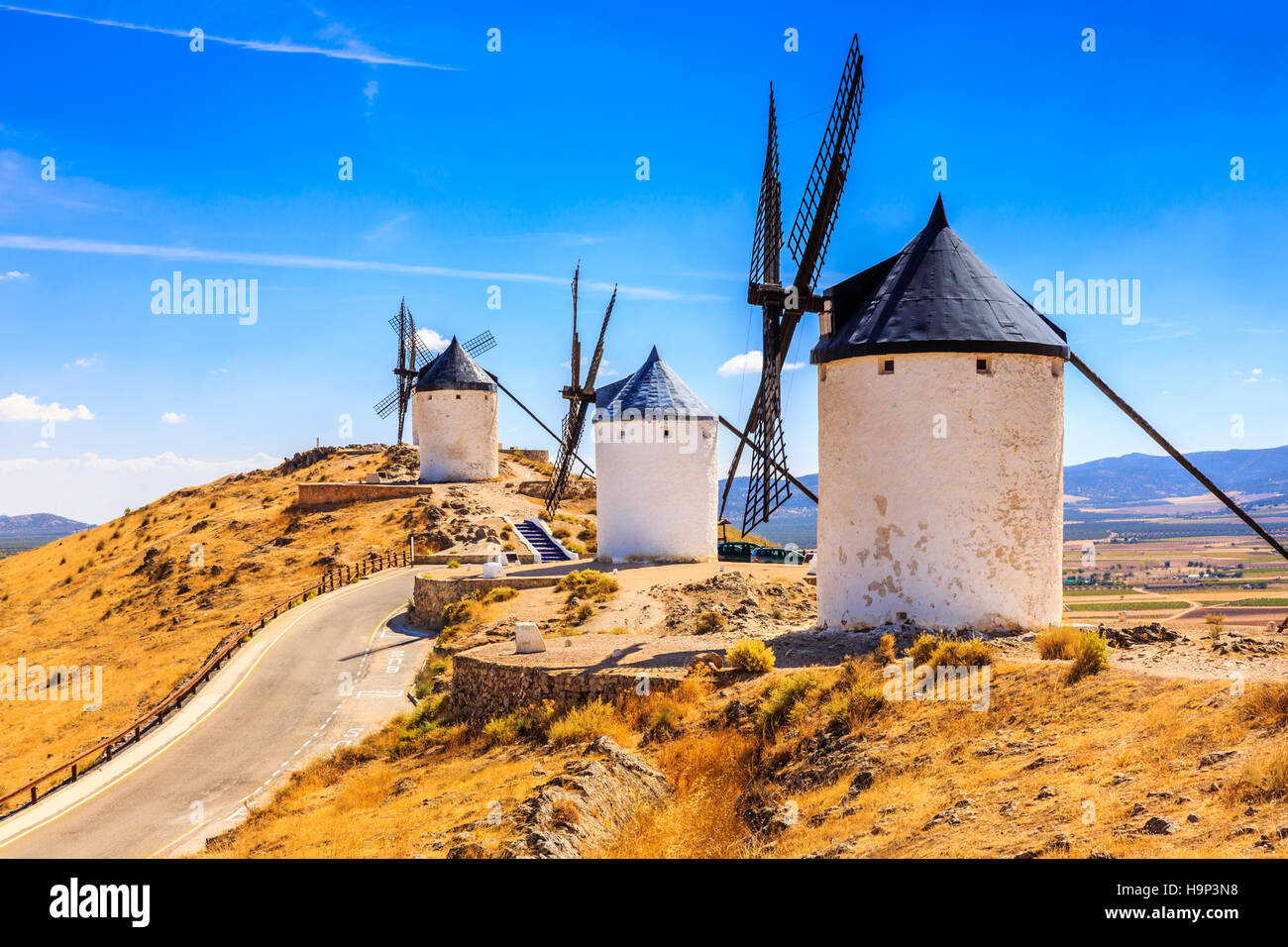 Consuegra, Spanien. Windmühlen von Don Quijote in der Provinz Toledo. Stockbild