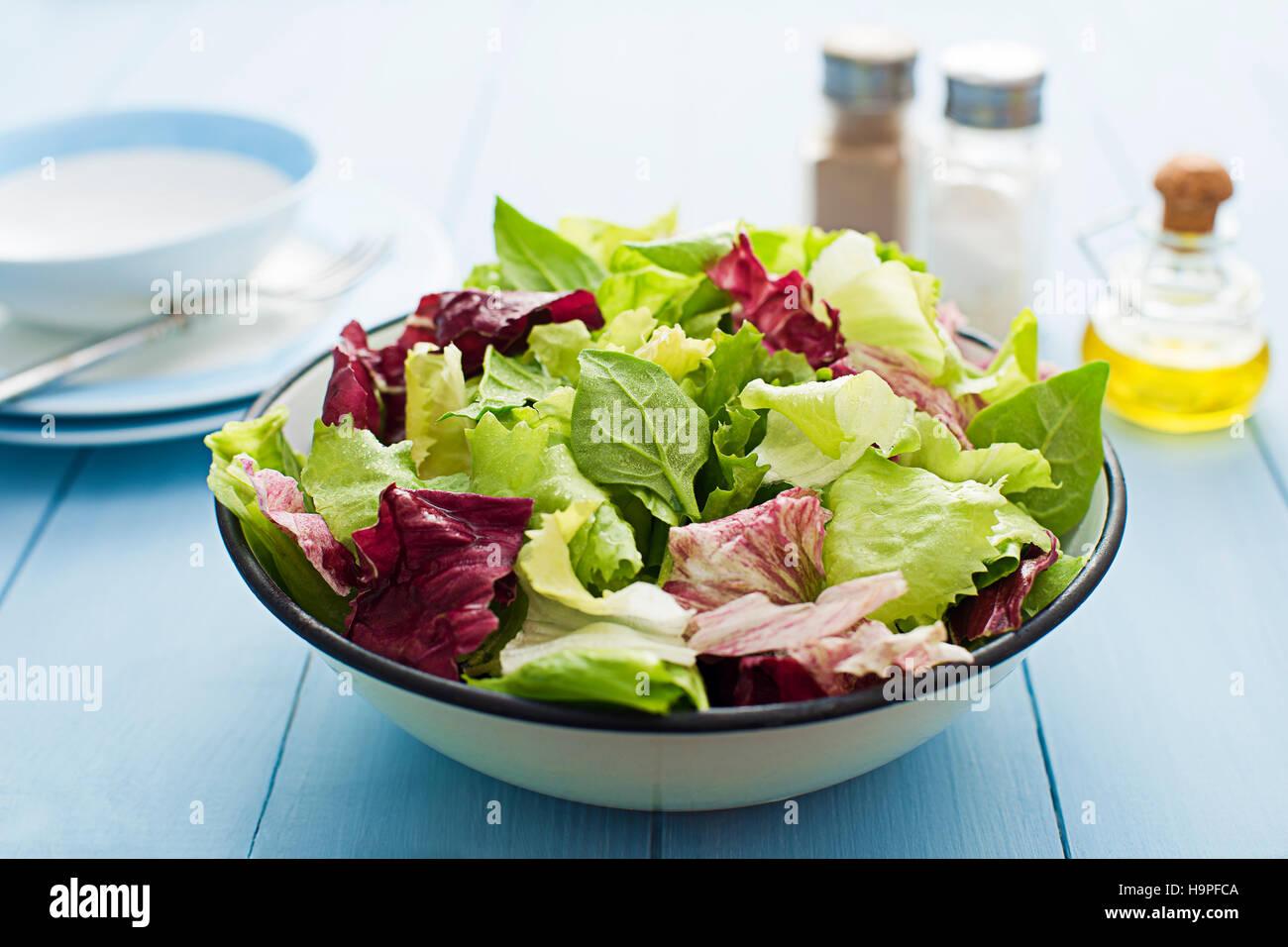 Frischer gemischter Salat in einer Schüssel hautnah Stockbild