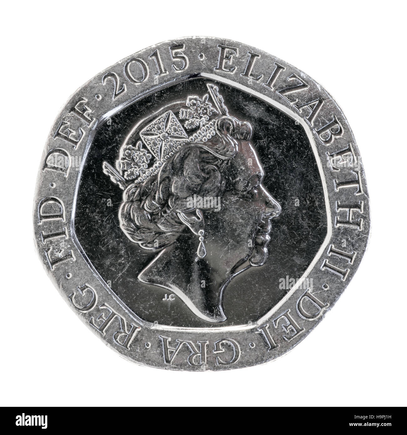 2008 Neues Design Für Die Britische Münzen 20 Cent Stück Stockfoto