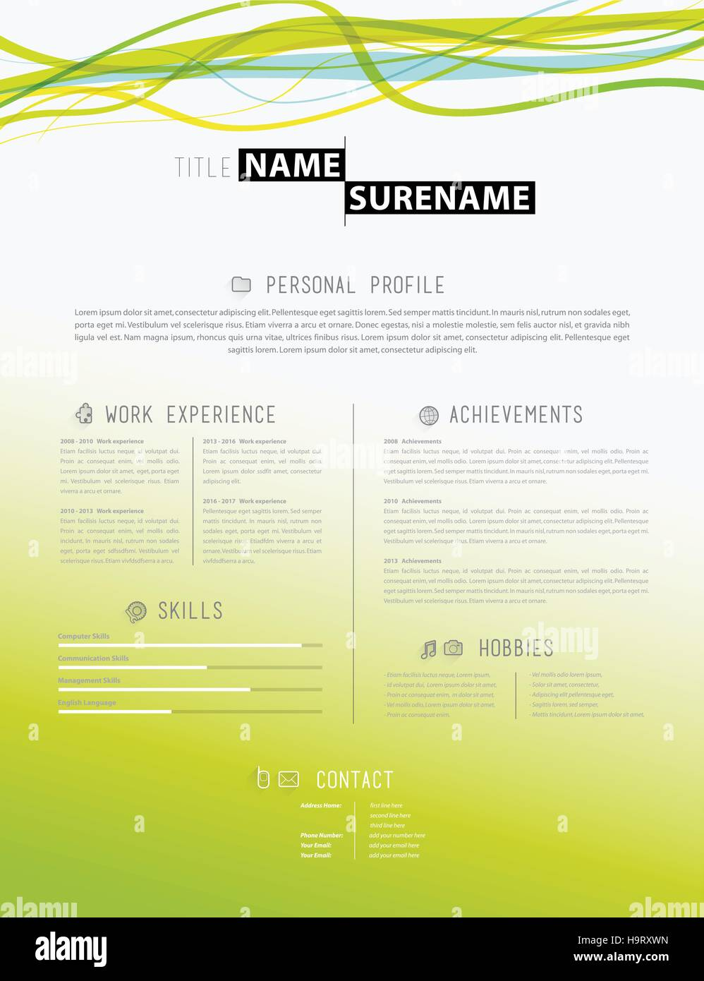 Creative Cv Template Yellow Paper Stockfotos & Creative Cv ...