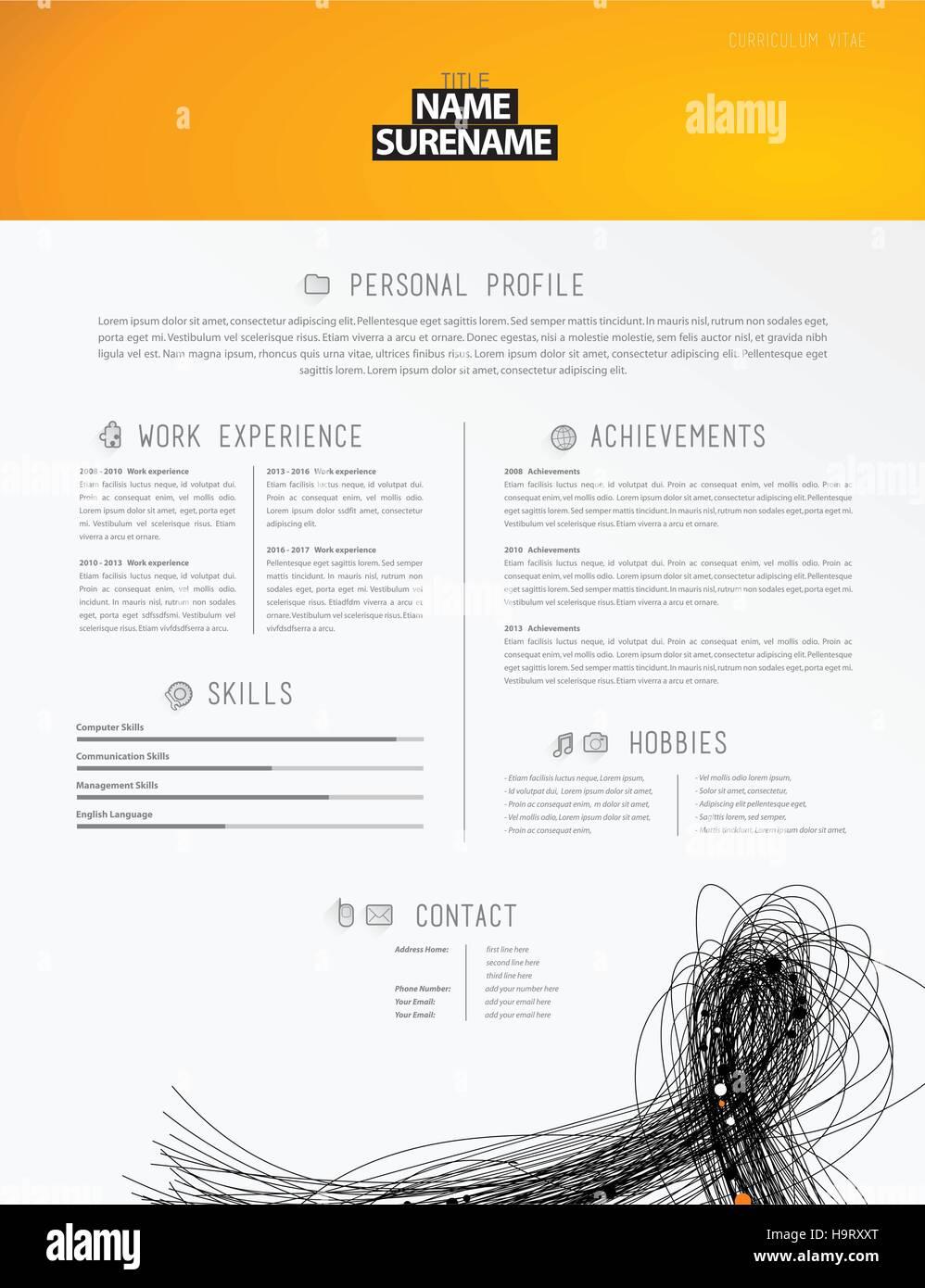 Kreative einfache Lebenslauf Vorlage mit schwarzen Linien in der ...