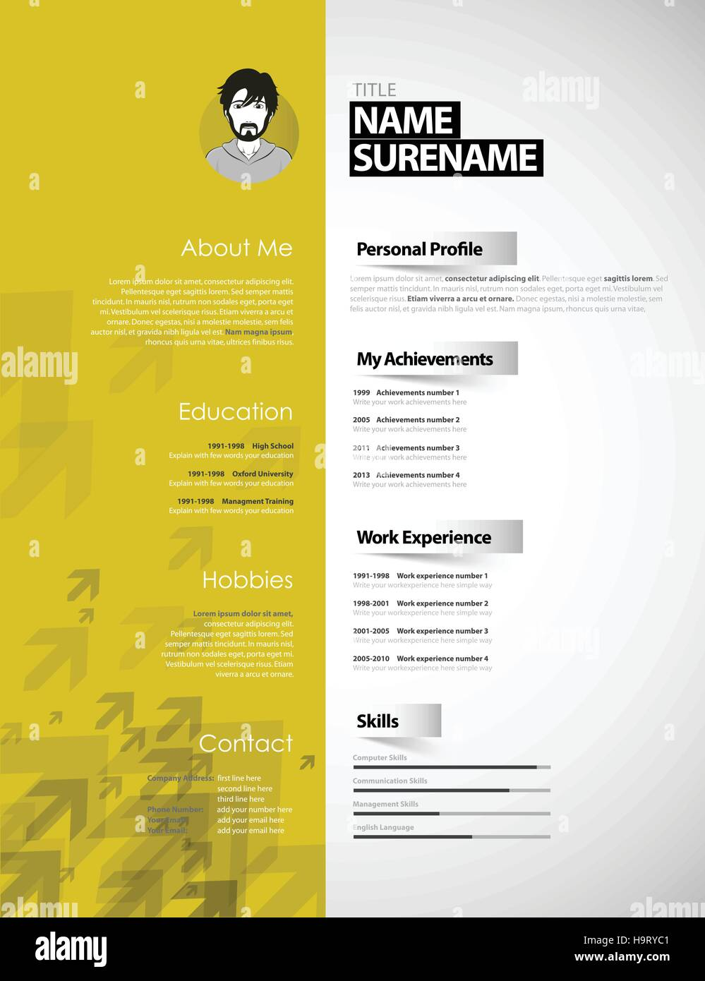 Curriculum Vitae Job Personal Info Stockfotos & Curriculum Vitae ...