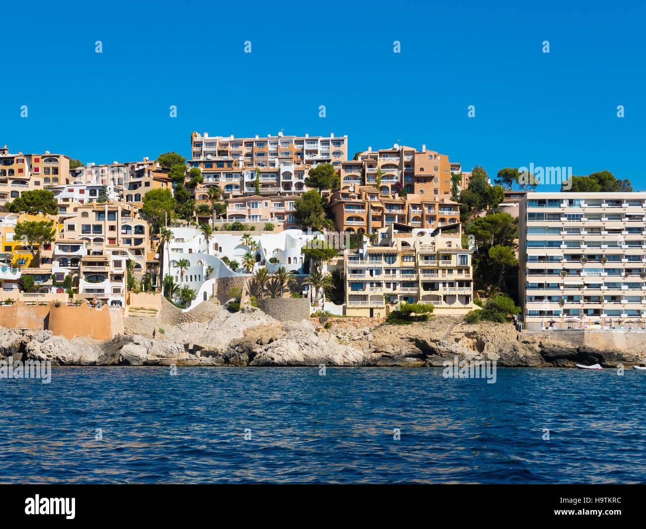 Wohnungen, Cala Fornels, Mallorca, Balearen, Spanien Stockfoto