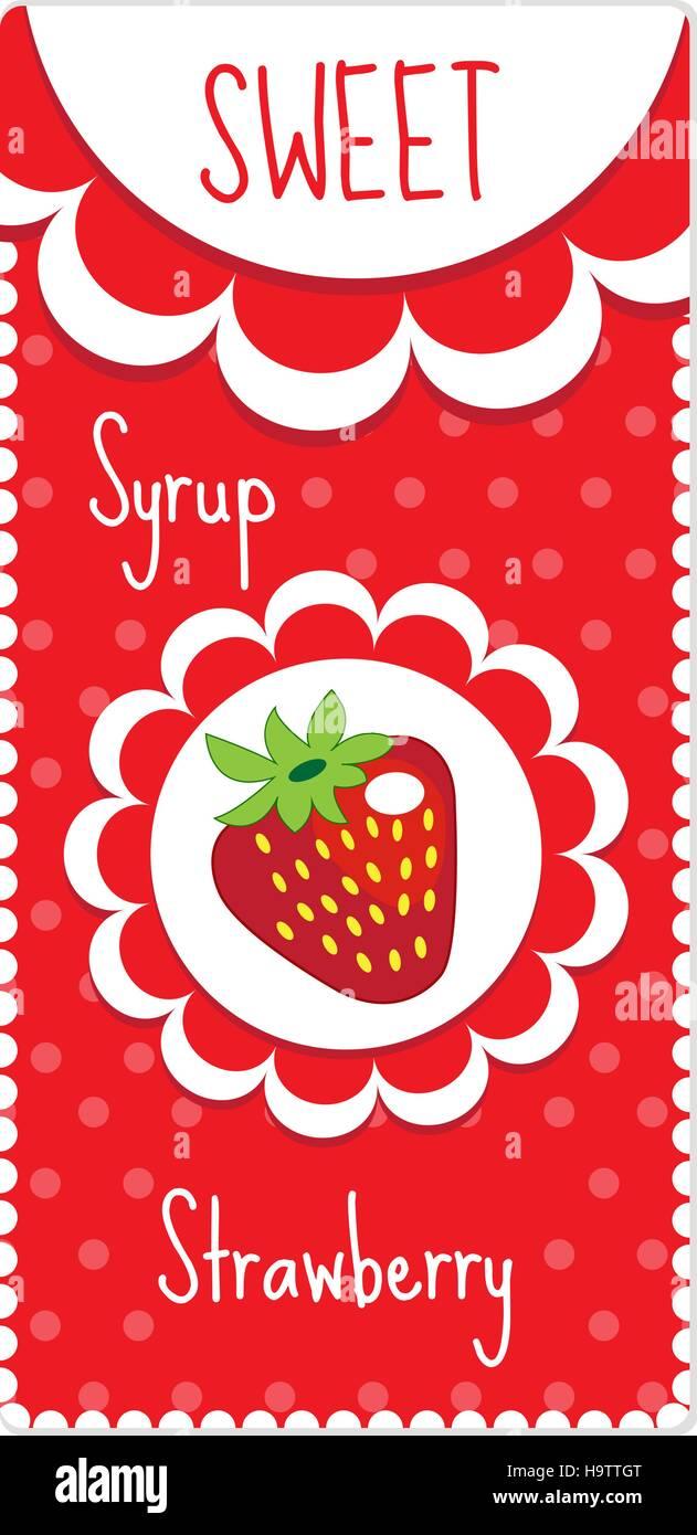 Süße Frucht-Etiketten für Getränke, Sirup, Marmelade. Erdbeer-Label ...