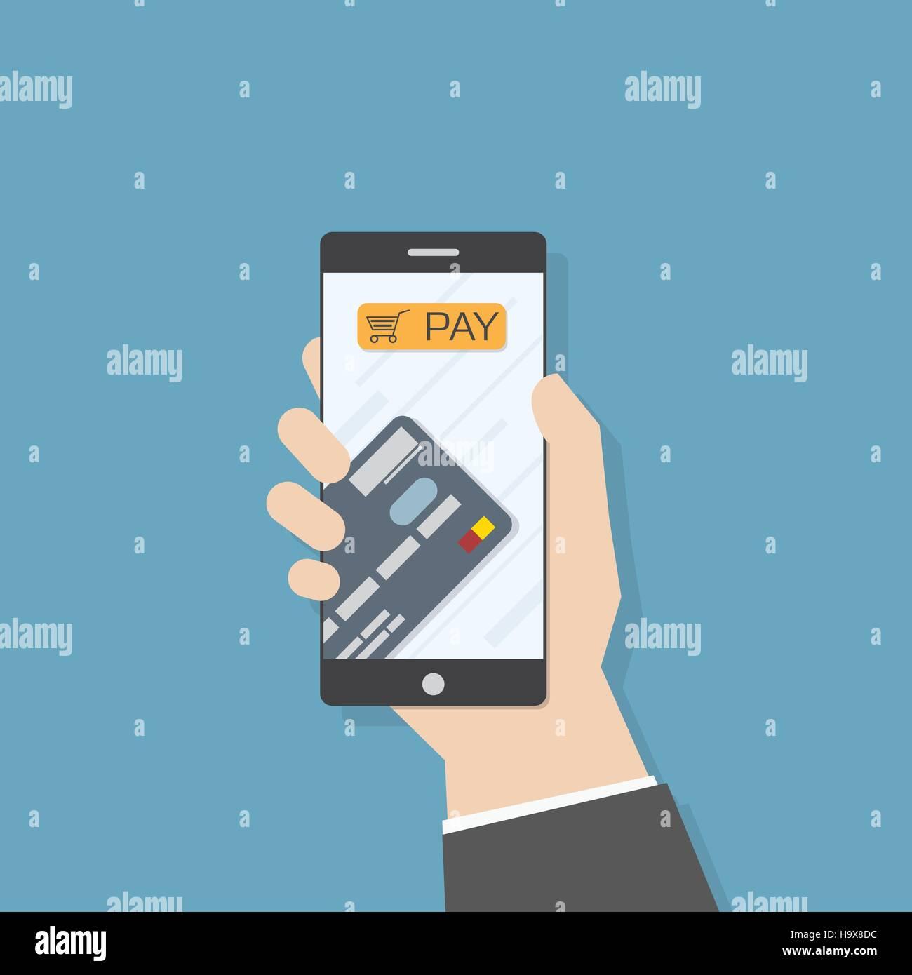 Einfache flache Darstellung. Hand mit Smartphone mit Kreditkarte ...