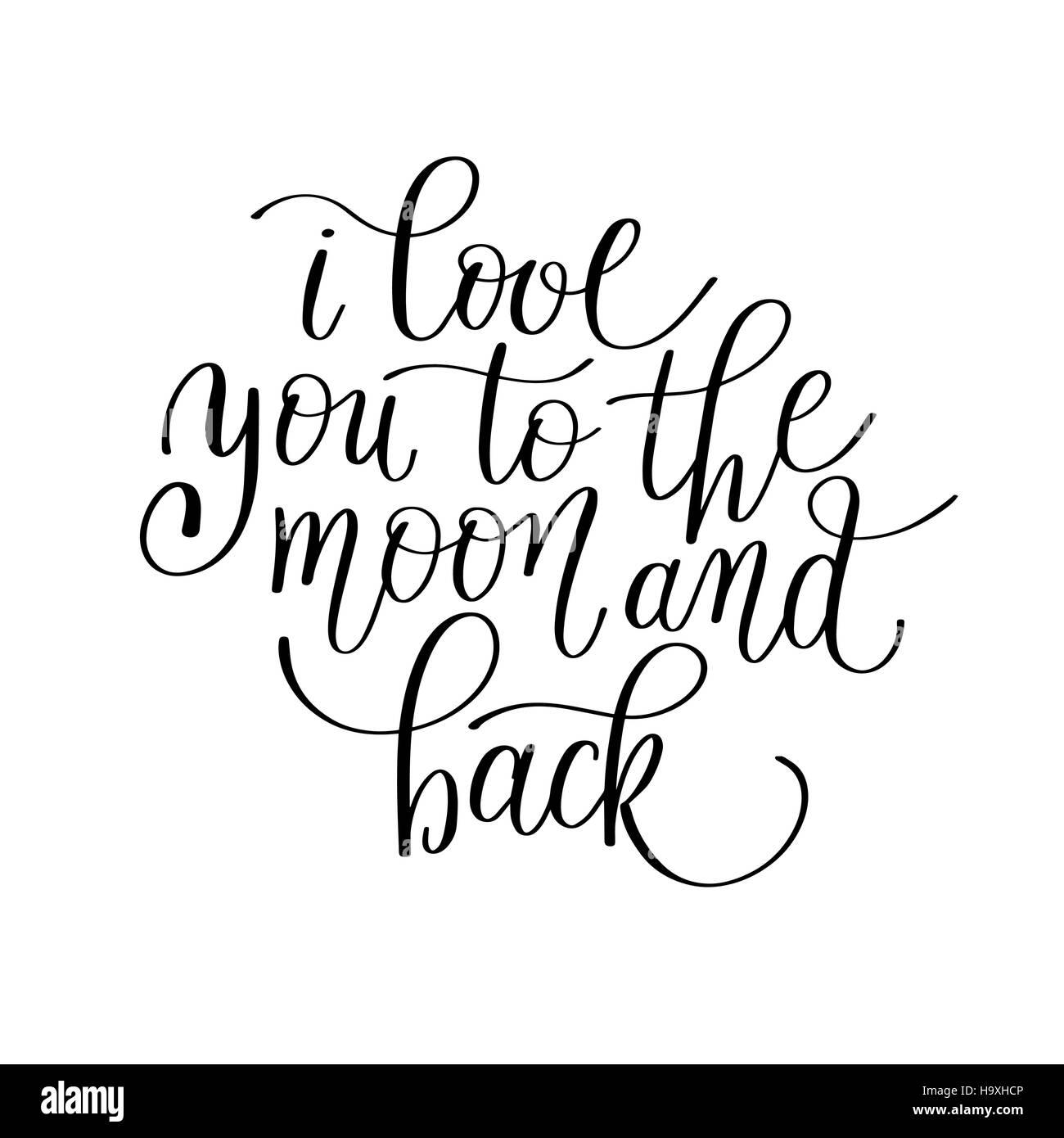 Blickfang Ich Liebe Dich Bis Zum Mond Ideen Von Und Zurück, Handgeschriebene Kalligraphie Letterin