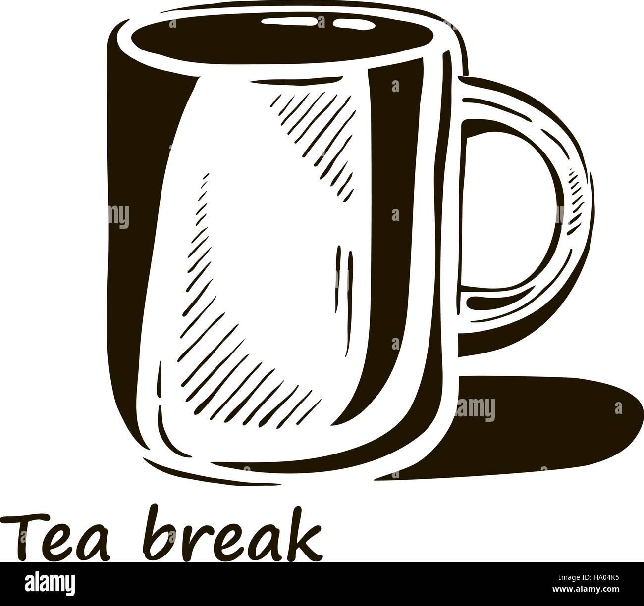 Hand Gezeichnet Tasse Tee Mit Schatten Vektor Abbildung Bild