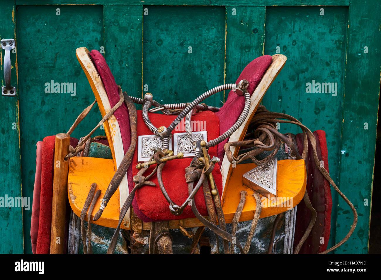 Mongolei, Arkhangai Sattel und Gurt für das Pferd Stockbild