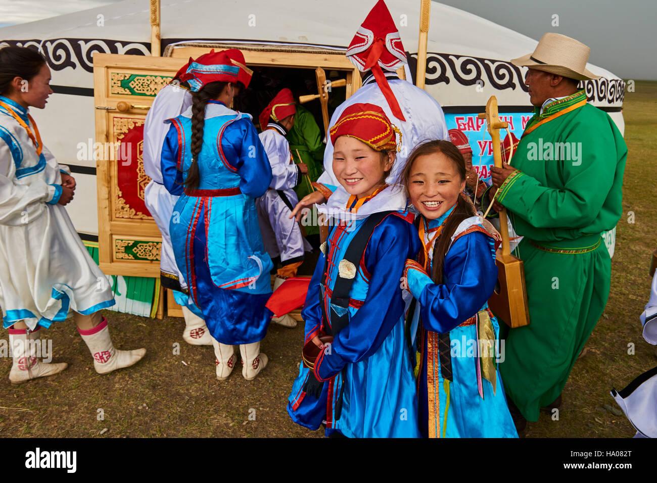 Mongolei, Uvs Provinz, westlichen Mongolei, Nomaden in der Steppe, Hochzeit Festival, Dorvod ethnische Gruppe Stockbild
