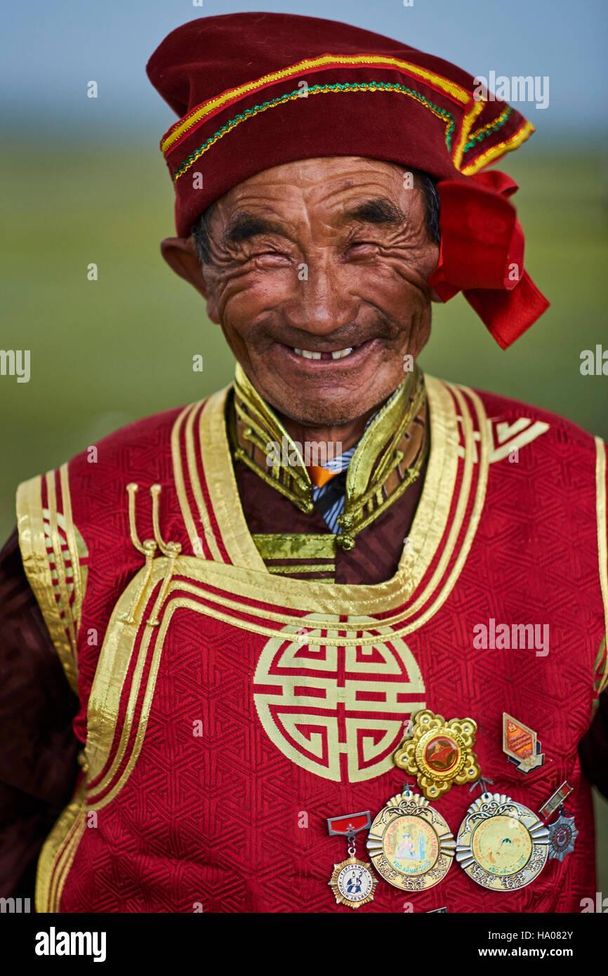 Mongolei, Uvs Provinz, westlichen Mongolei, Nomaden in der Steppe, Porträt eines alten Mannes Dorvod ethnischen Stockbild