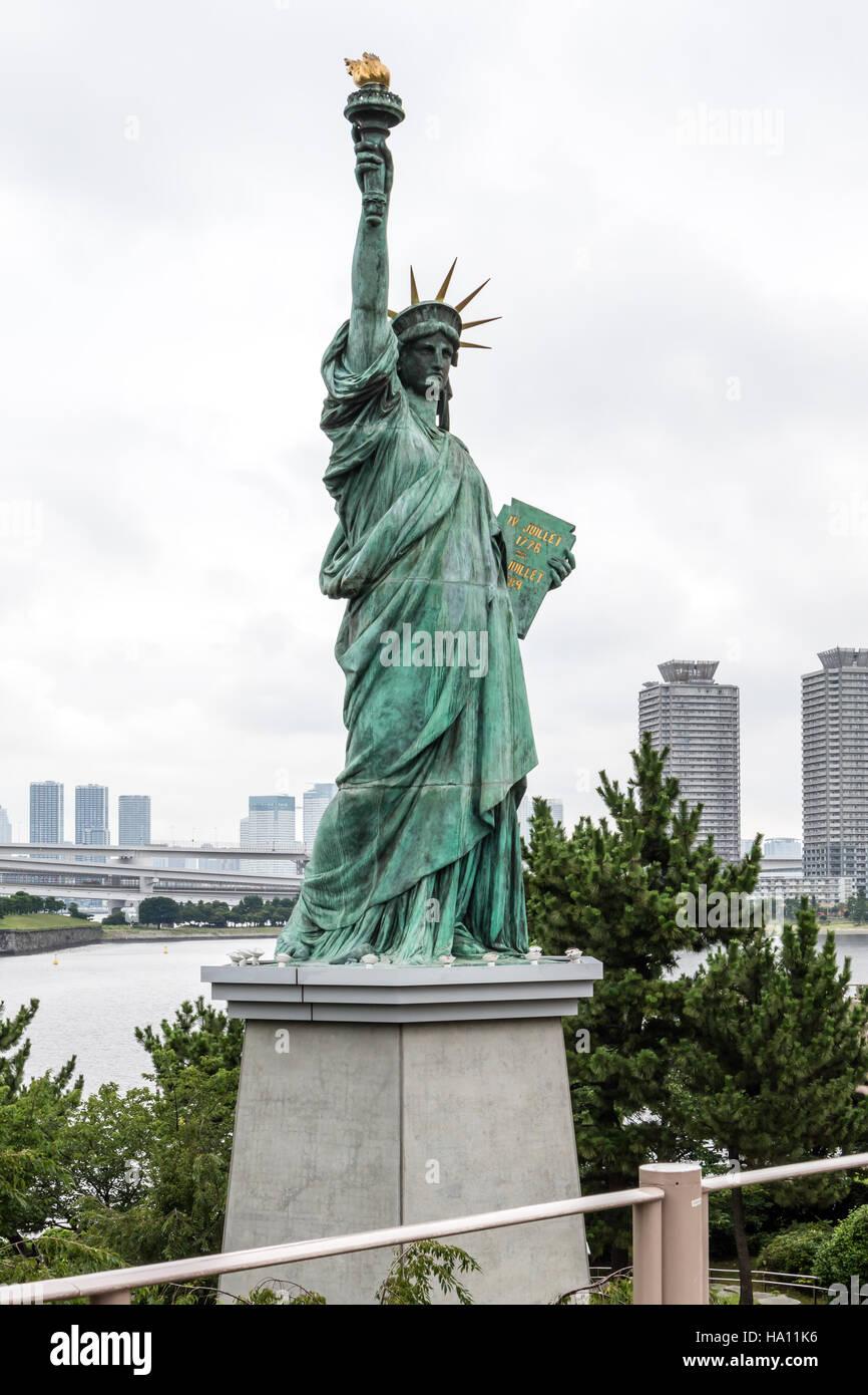 Freiheitsstatue in Odaiba, Tokio Stockbild