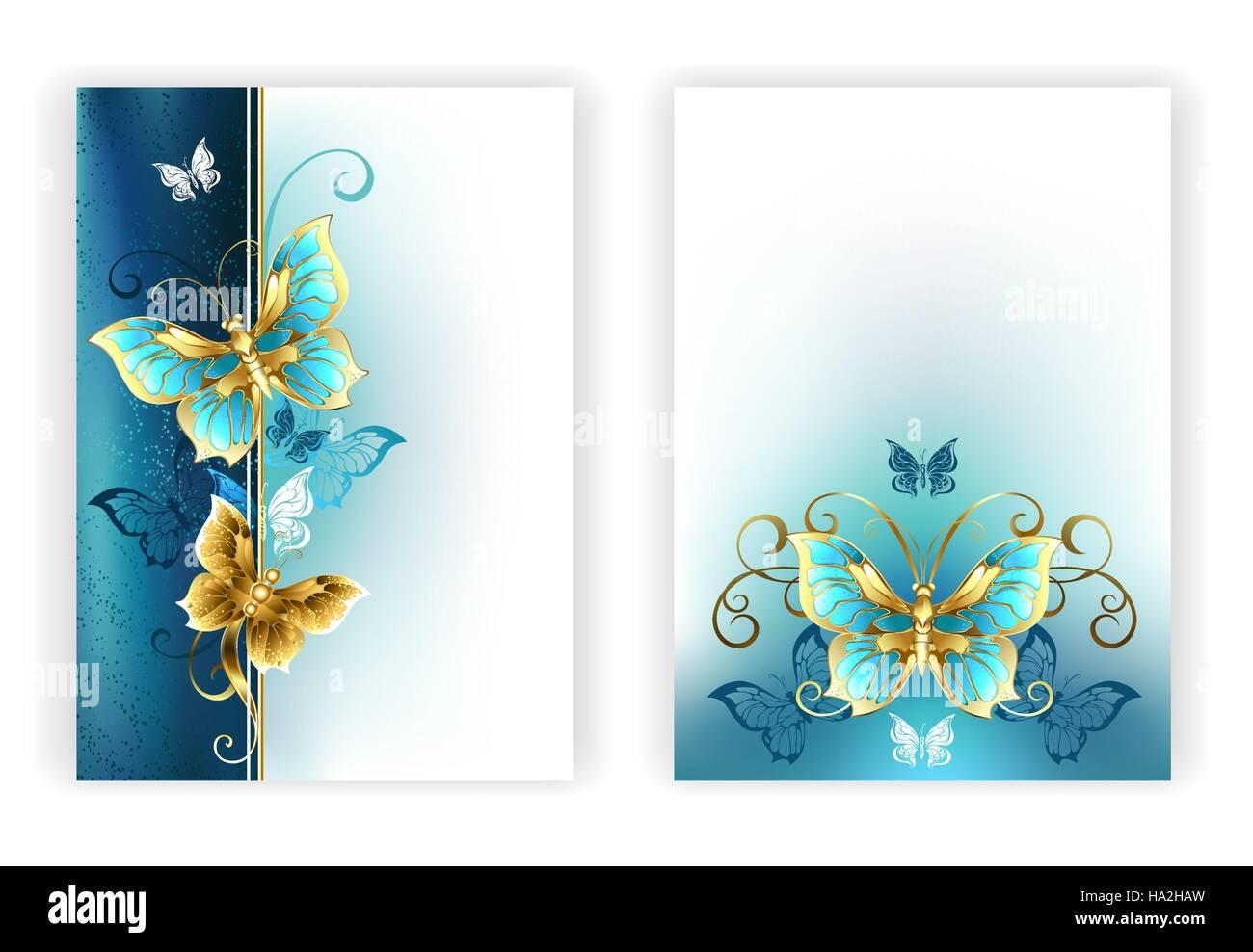 Design für die Broschüre mit Luxus, Schmuck, gold Schmetterlinge auf ...