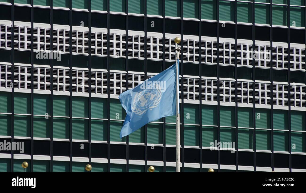 UN-Flagge im UN-Hauptquartier Stockbild