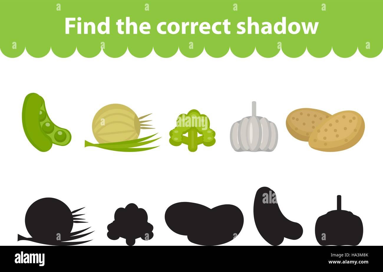 Kinder s Lernspiel, finden richtige Schatten Silhouette. Vektor ...