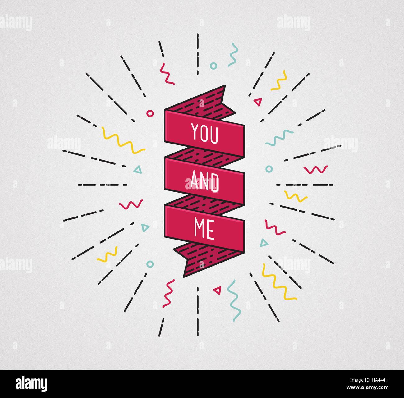 Du und ich. Farbe inspirierenden Zitaten typografische poster Stockbild