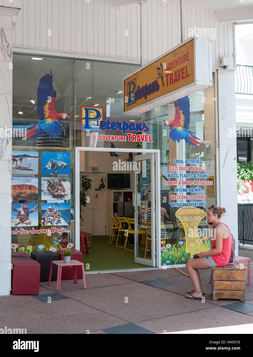 Peterpans Abenteuer Reisebüro, Orchid Avenue, Surfers Paradise, City of Gold Coast, Queensland, Australien Stockbild