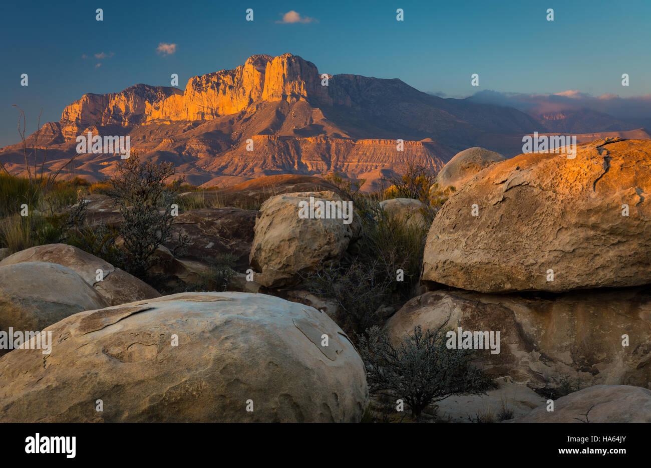 El Capitan ist ein Spitzenwert im Culberson County, Texas, Vereinigte Staaten, im Guadalupe Mountains Nationalpark Stockbild