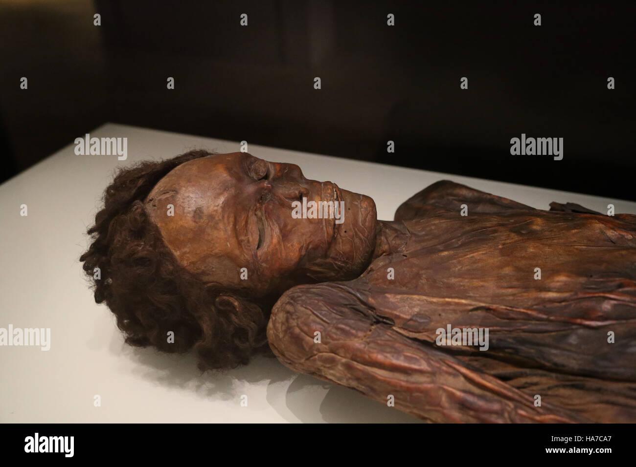 Mumifizierten Überreste eines Mannes. Barranco de Herques, Teneriffa, Kanarische Inseln, Spanien. Nationales ArchäologischesStockfoto