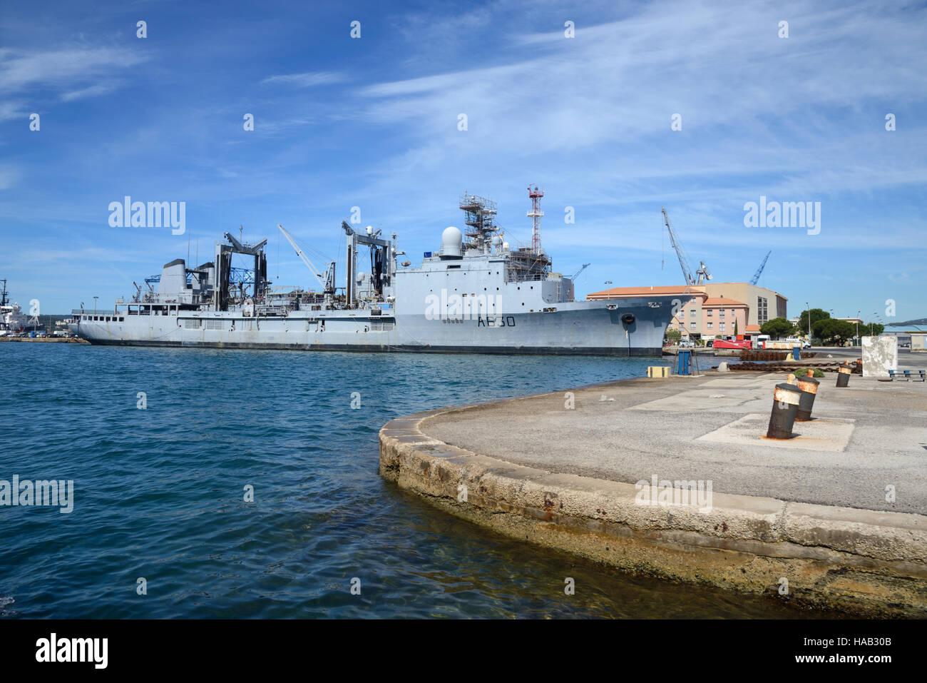 Marne französische Marine Schiff am Hafen Toulon Provence Frankreich Stockbild
