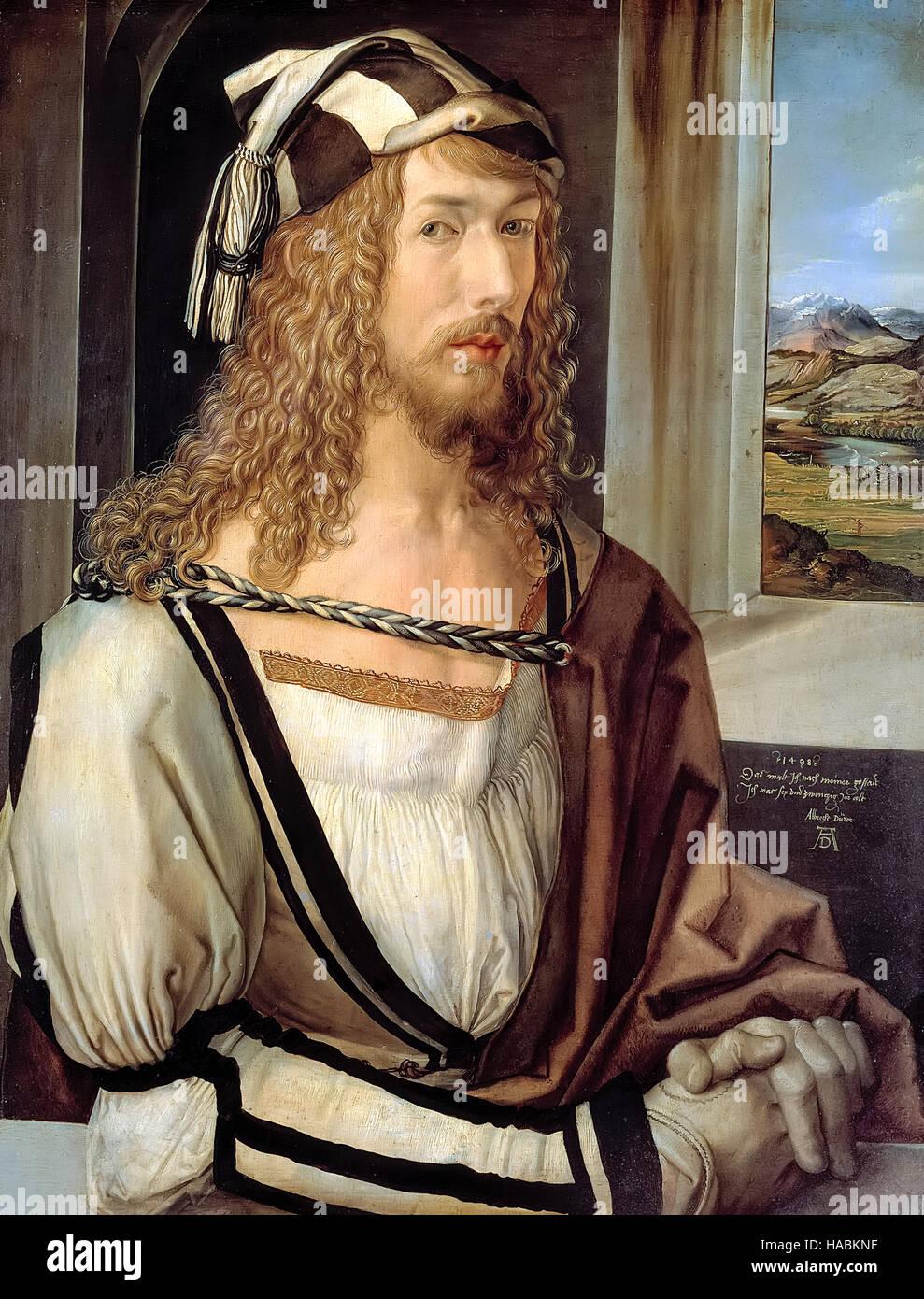 Albrecht Dürer (1471-1528) Selbstbildnis im Alter von 26, abgeschlossen im Jahre 1498, deutsche Künstler Stockbild