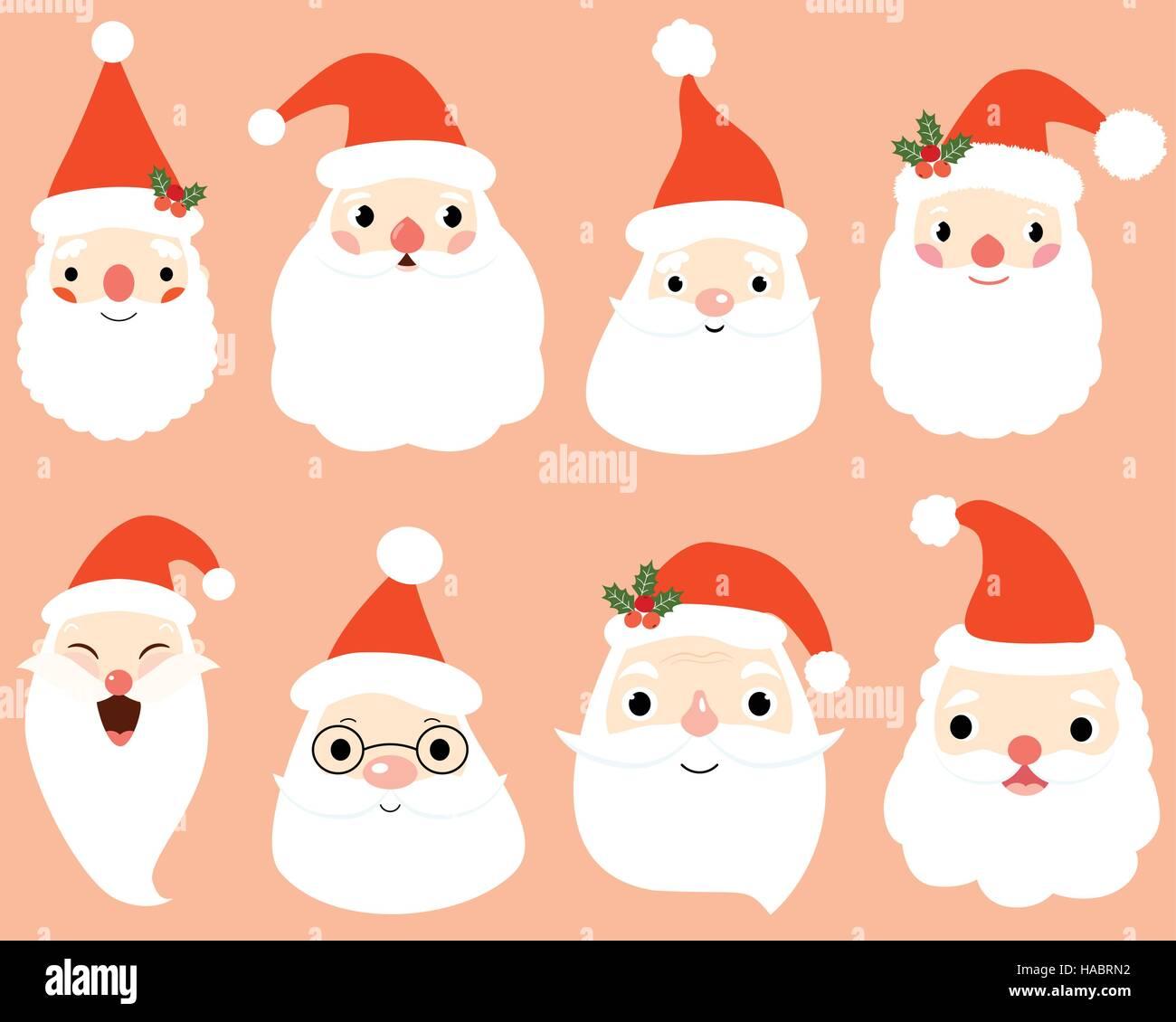 Comic Weihnachtsmann Kopf Weihnachten Vektor Illustration