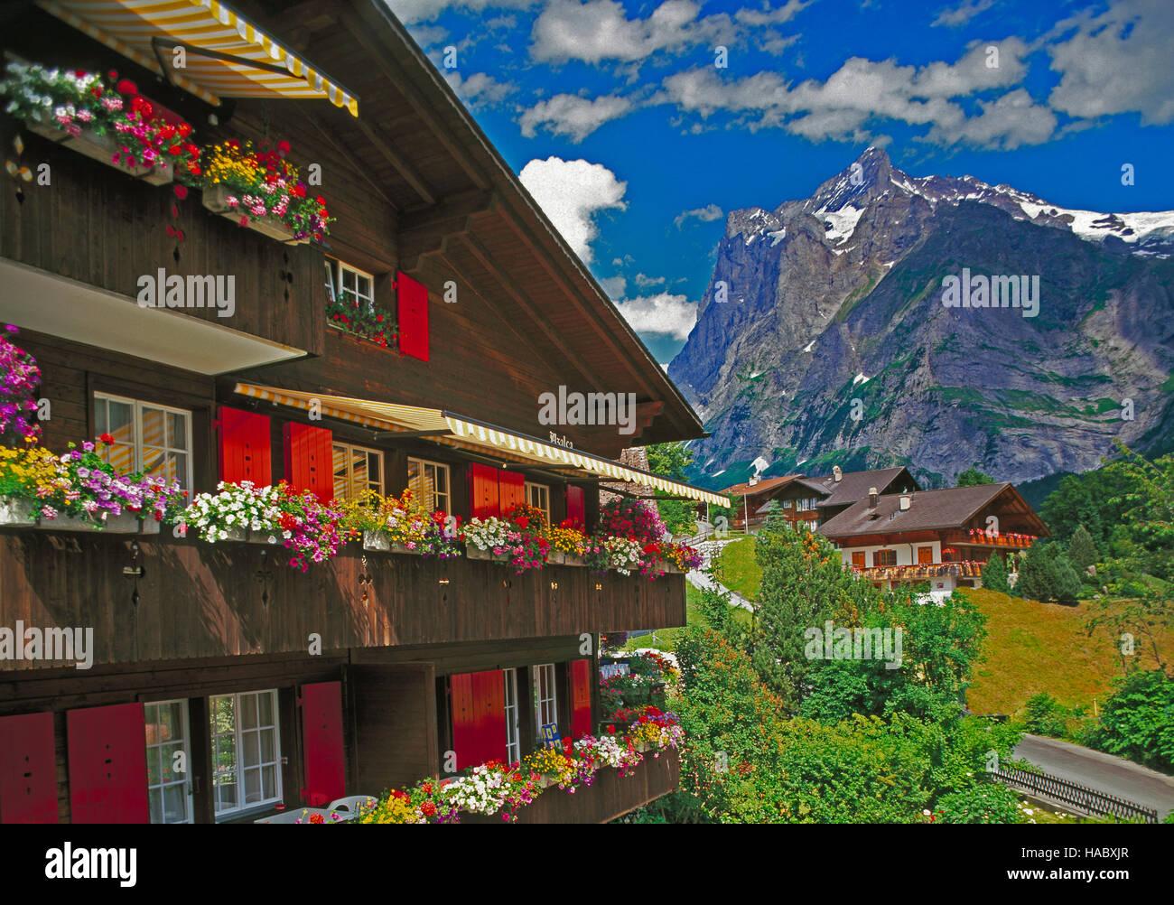 Wetterhorn und Chalet in Grindelwald, Berner Oberland, Schweiz Stockbild
