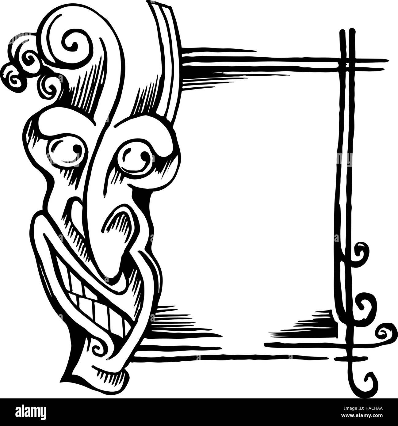 Skizze stilisiert Dämon Kopf, Gesicht und Rahmen Vektor Abbildung ...