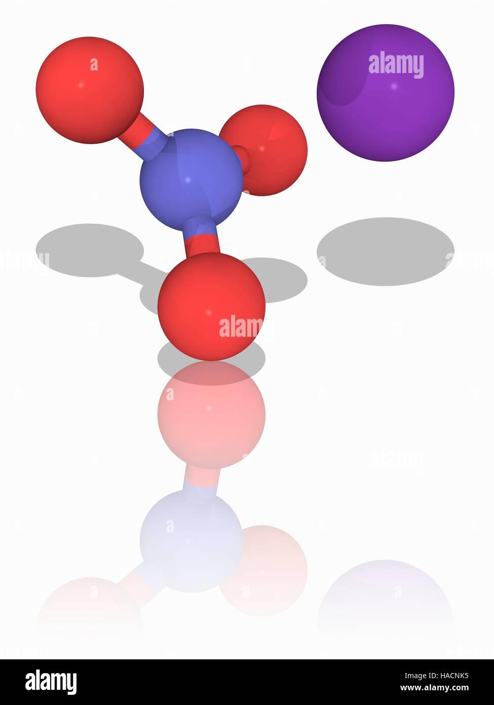 Kaliumnitrat Molekulares Modell Des Die Anorganische