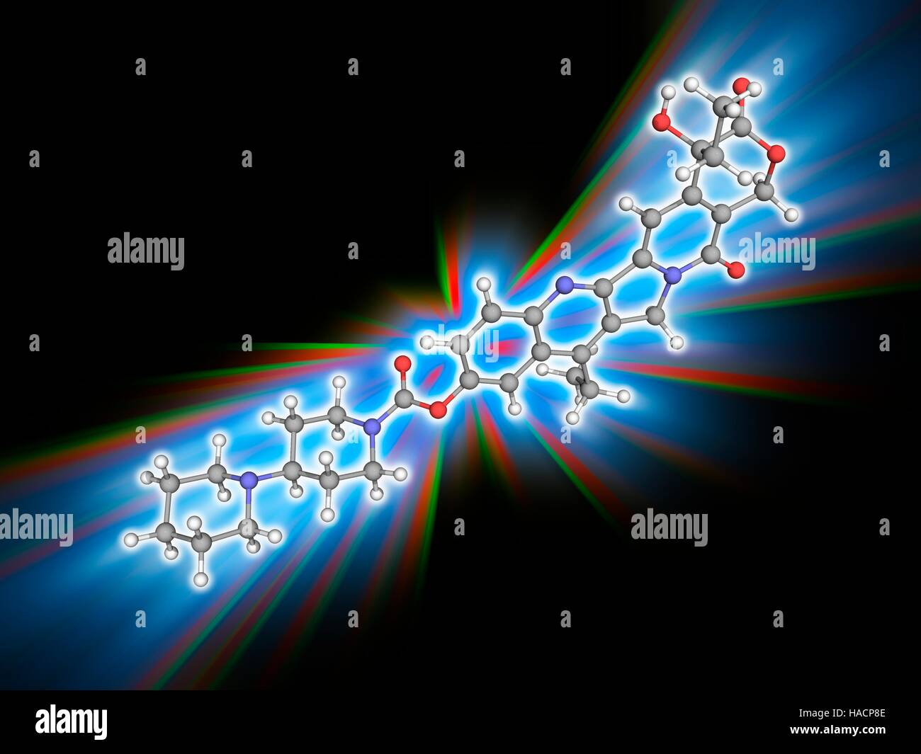Irinotecan. Molekulares Modell des Medikaments Irinotecan (C33. H38. N4. O6), hauptsächlich in der Chemotherapie Stockfoto