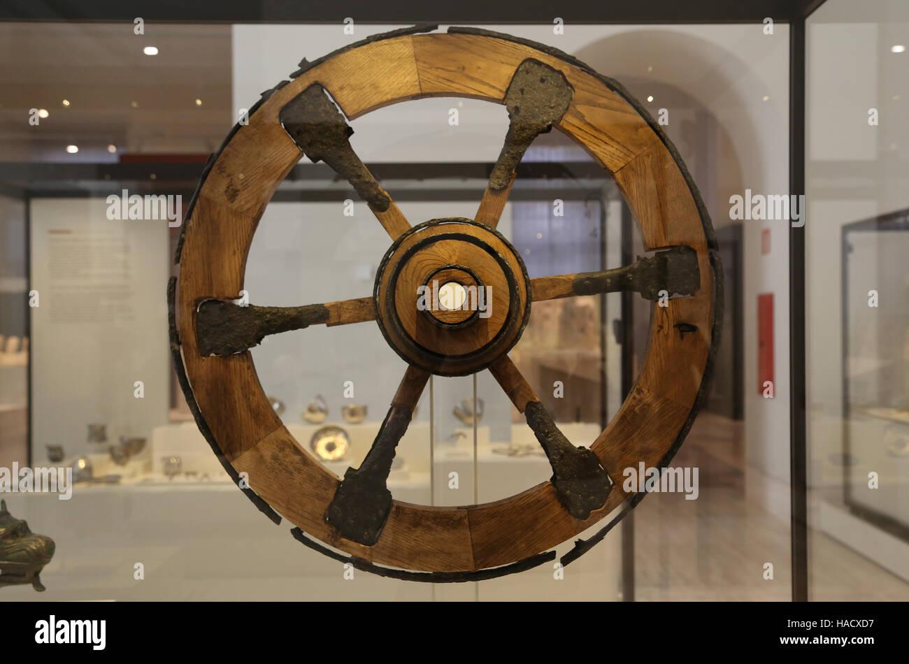Rad von einem zeremoniellen Wagen von Toya. Eisen. Iberischen Kultur BC. Grabkammer, Cerro De La Horca Toya (Peal Stockbild