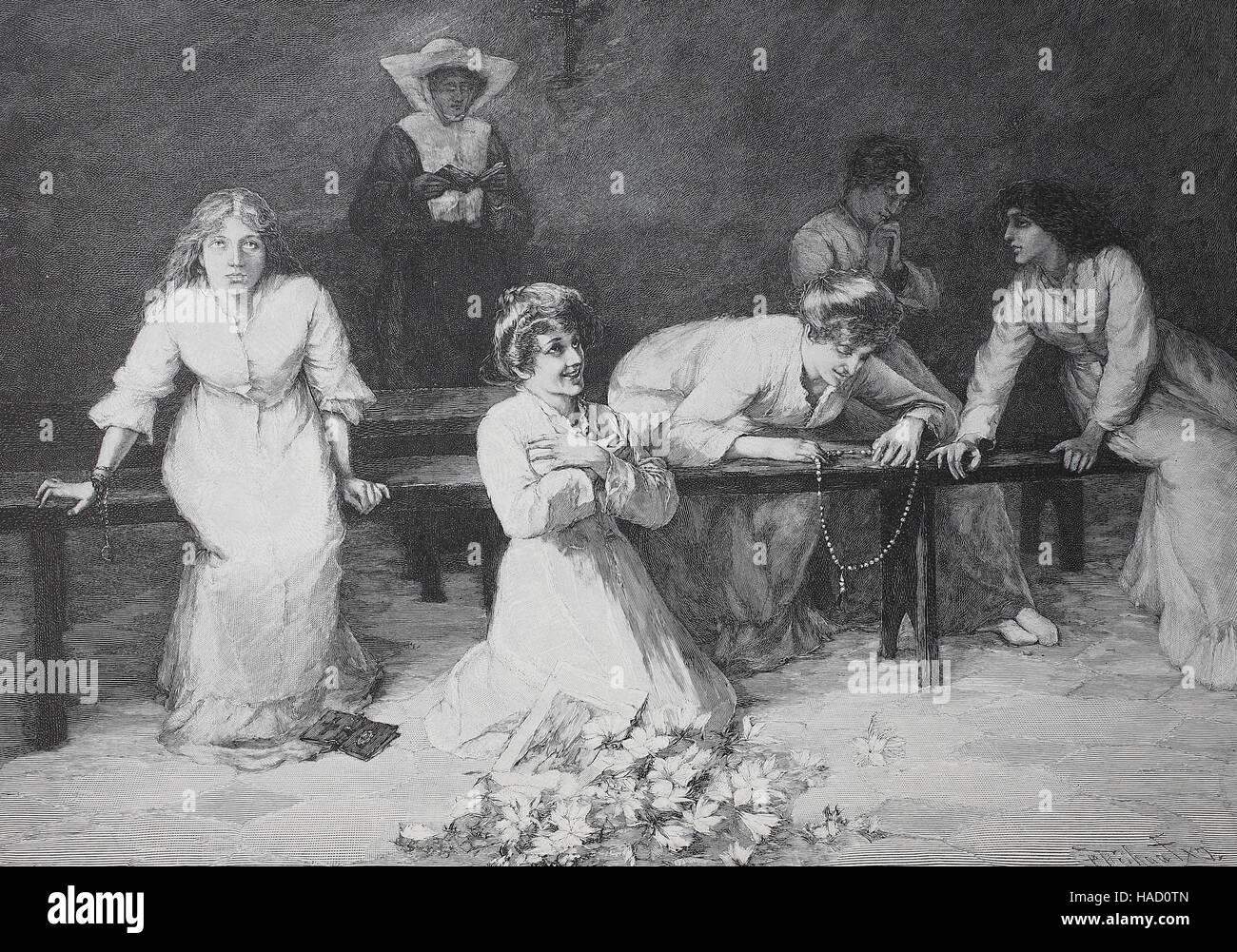 verrückte Frauen, Wahnsinn, Verrücktheit oder Wahnsinn, von N. Attanasio, Illustration im Jahr 1880 veröffentlicht Stockbild