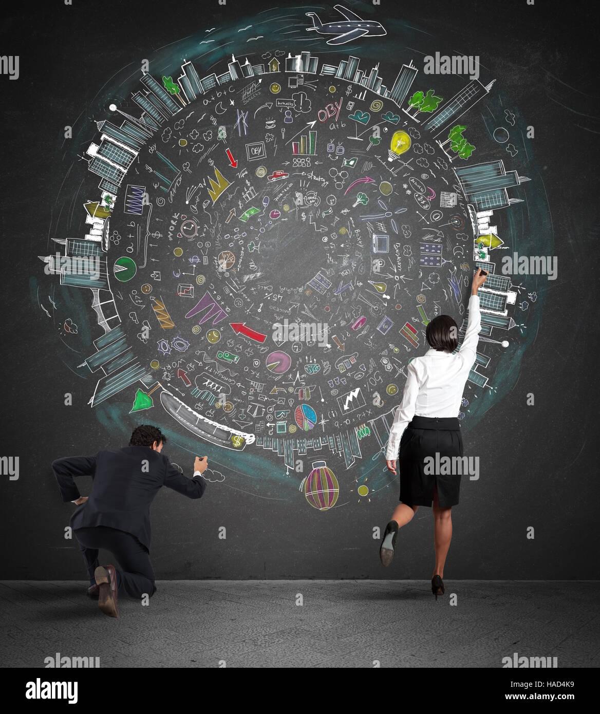 Business-Team zeichnen ein neues komplexes Projekt Stockbild