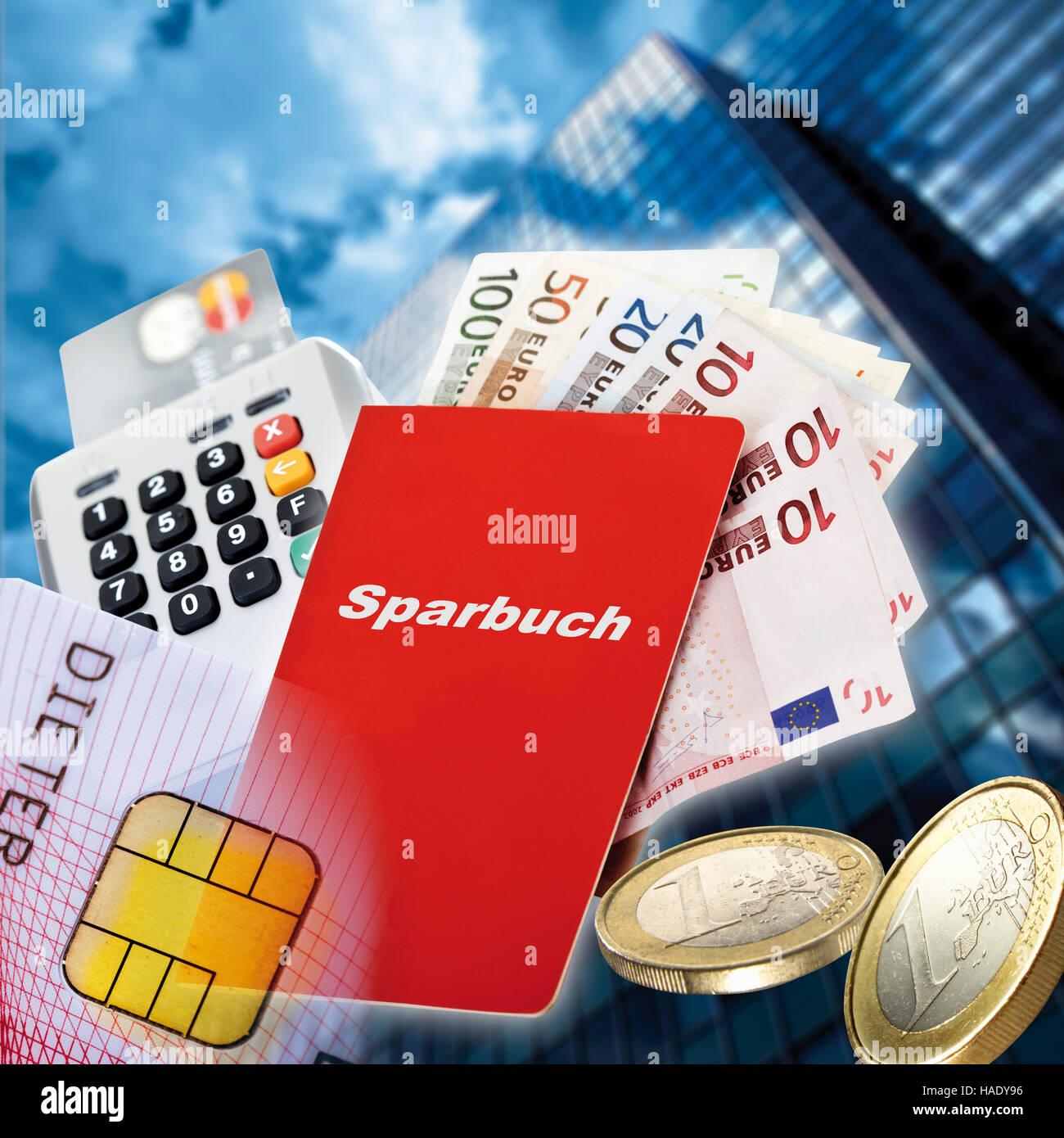 Sparkonto Buch Euro Banknoten Euro Münzen Kartenlesegerät