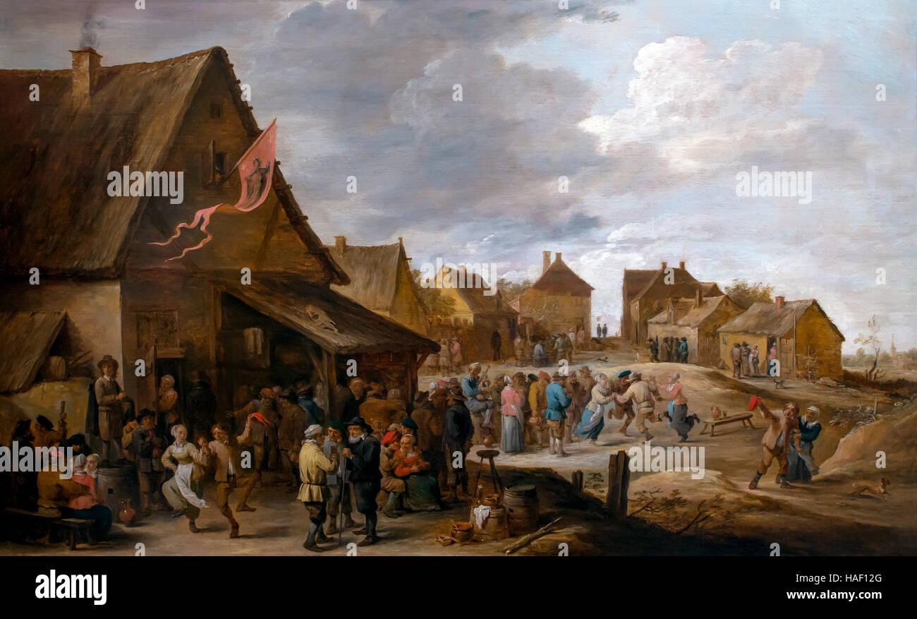 Dorf fest, jährliche Messe, von David Teniers ii, rockoxhuis, Antwerpen, Belgien, Europa Stockbild