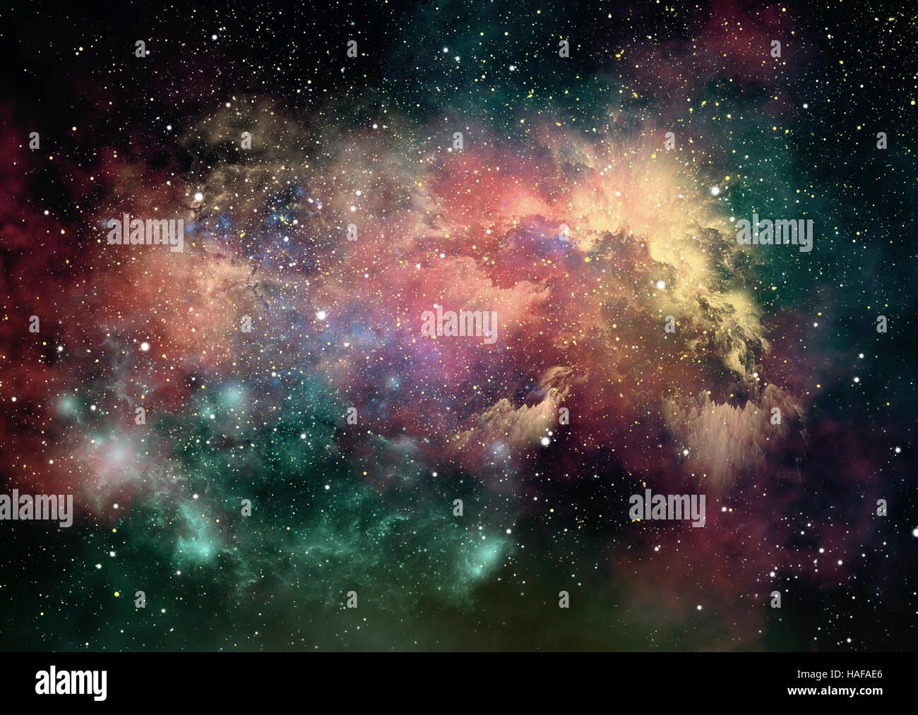 3D-Computergrafik von Nebeln und Sternenhimmel im Weltraum Stockbild