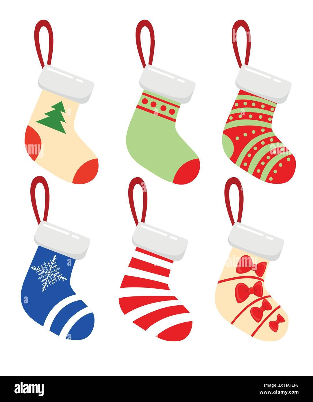 Frohe Weihnachten moderne Vektor-Illustration von Weihnachten Socken ...