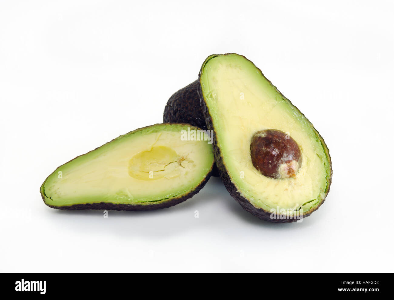 Avocado (Persea Americana, Lauraceae Avocado, Alligator Pear, criollo Obst, Aguacate in Spanisch, Abacate in Portugiesisch Stockbild