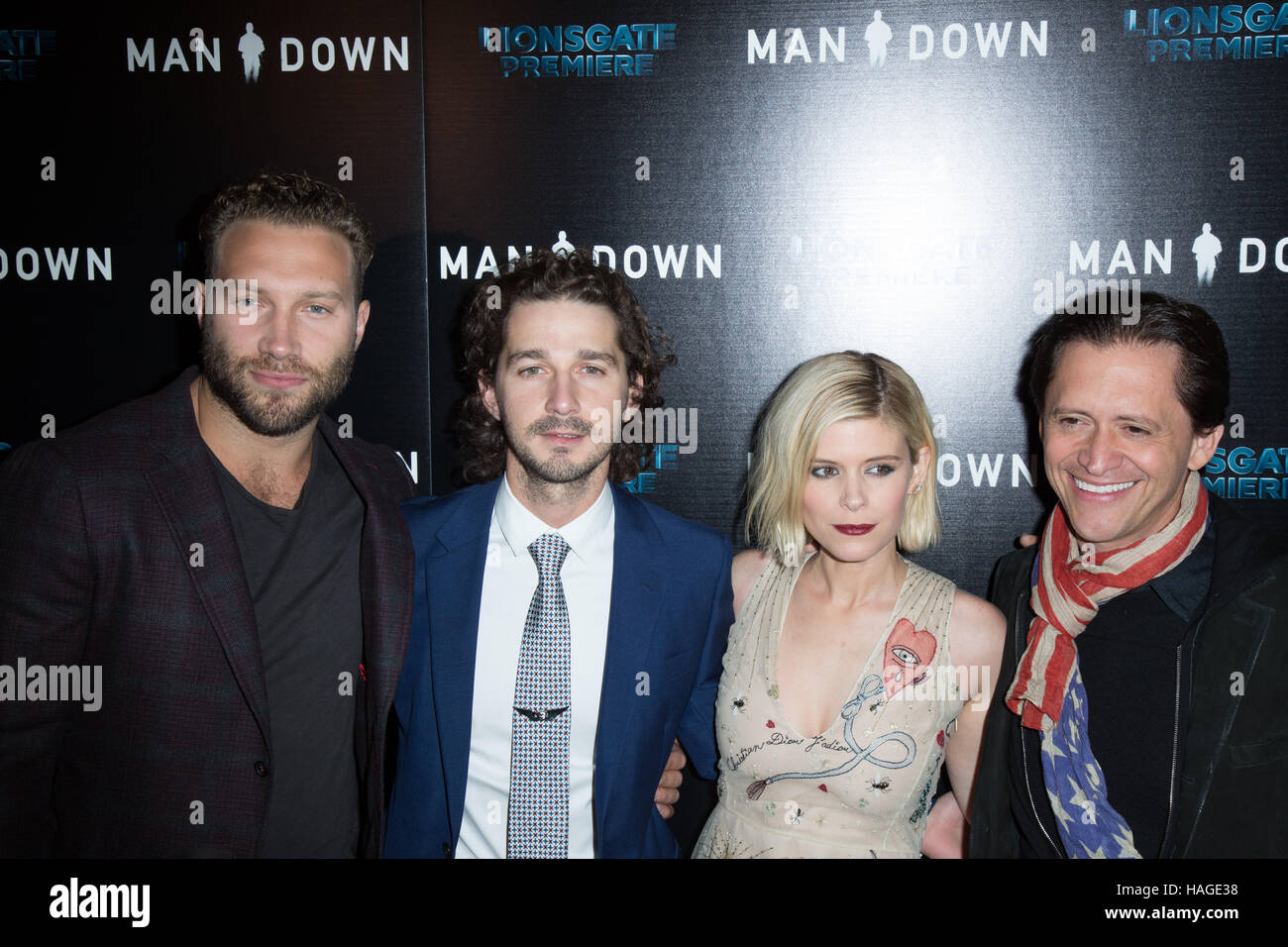 Hollywood, USA. 30. November 2016. Jai Courtney, Shia LaBeouf, Kate Mara und Clifton Collins Jr. besuchen die Premiere Stockbild