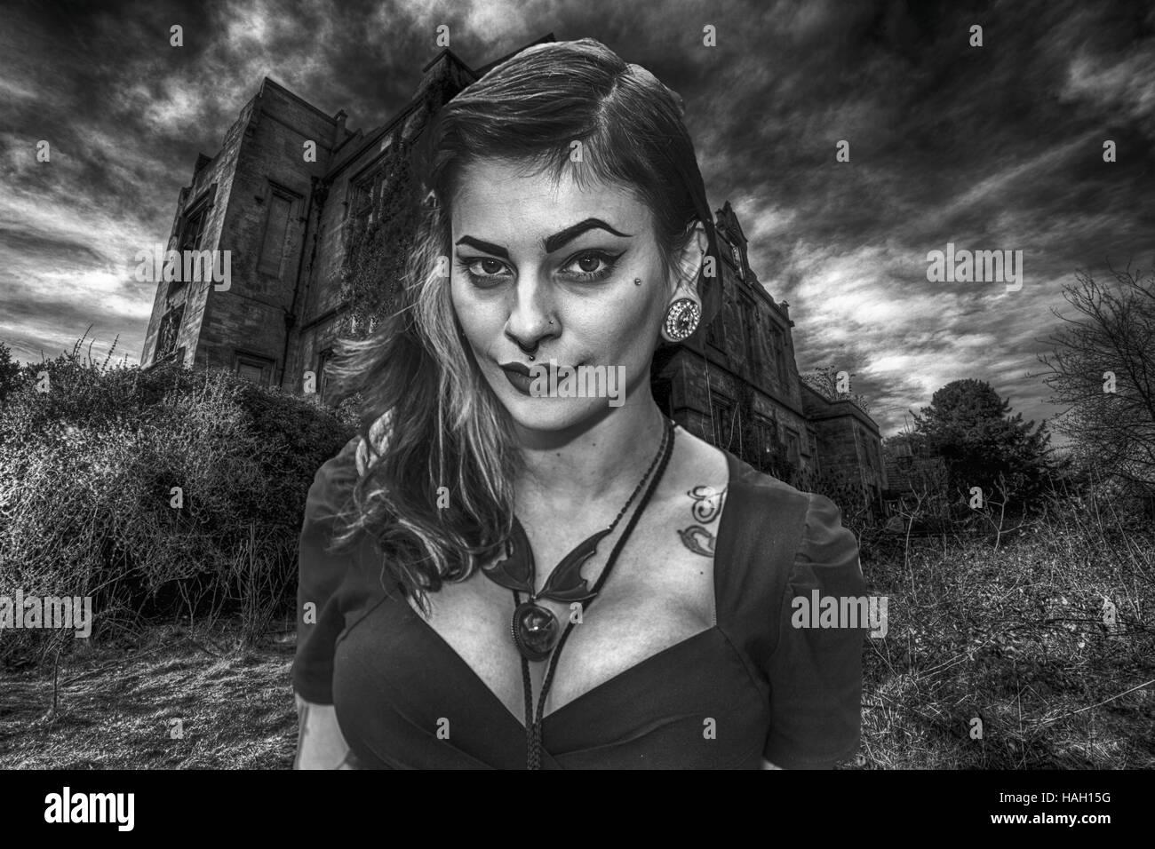 Gothic Girl, Goth Girl, schwarz und weiß, hübsche Mädchen, dunkle, geheimnisvolle, dralle, alternative Stockbild